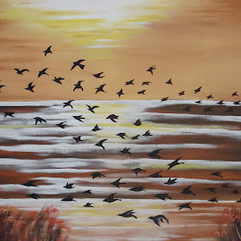 Birds by Shafiq Azli - Painting All Painting ( set, paint, mural, birds, sun )