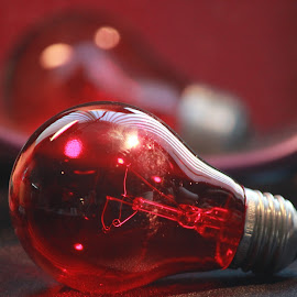 Red lightbulb by Valerie Samons - Novices Only Objects & Still Life ( light bulb,  )