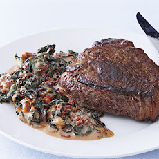 Sear-Roasted Rib-Eye with Creamed Chard