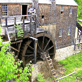 Sawmill Waterwheel by Ernie Easter - Buildings & Architecture Public & Historical
