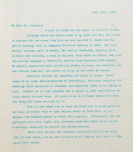 While it is not known for certain whether Henry Clay Frick ever visited the Mauritshuis, we do know that the Frick family visited Holland in 1896. Frick wrote of his intention to visit the country in a letter to Andrew Carnegie in July of that year.