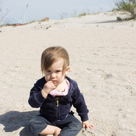 Beach Fun by Shaindy Plumer - Novices Only Portraits & People ( windy, jeans, baby girl, cloudy, beach )