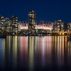 BC Place Stadium, across the Harbour by Cory Bohnenkamp - City,  Street & Park  Skylines ( skyline, false creek, stadium, cityscape, vancouver, bc place, the mood factory, mood, lighting, sassy, pink, colored, colorful, scenic, artificial, lights, scents, senses, hot pink, confident, fun, mood factory ,  )