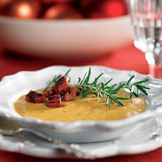 Sweet Potato-Peanut Soup with Ham Croutons