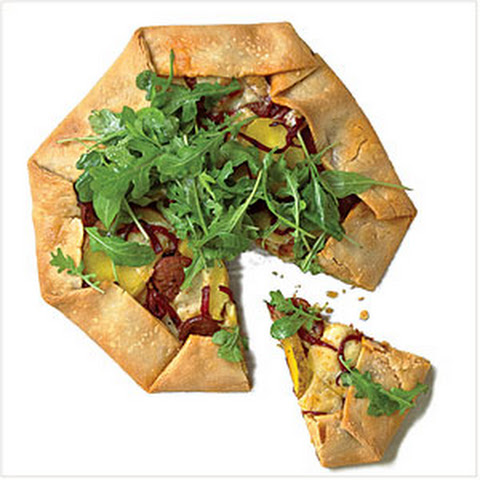 Chorizo, Red Pepper, and Potato Galette with Arugula