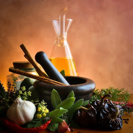herbs from my garden by Tanya Popove - Food & Drink Ingredients ( pestle and mortar, sage, bay leaf, noras )