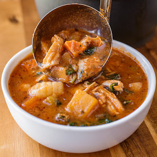 Hearty Italian Chicken and Autumn Veggie Soup with Roasted Garlic and Tomato Broth over Gnocchi
