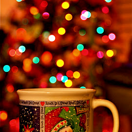 A Cup of Hot Chocolate by Richard Timothy Pyo - Artistic Objects Cups, Plates & Utensils ( cup, christmas decoration, indoor, christmas lights, christmas, table, chocloate, mug, winter, snow, hot, christmas tree, snowman )
