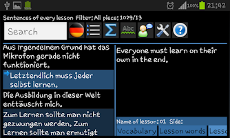 Screenshot of German word trainer Vocabulary