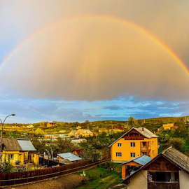 Double rainbow by Catalin-Adrian Neacsu - Landscapes Weather ( sky, rainbo, double, rain )