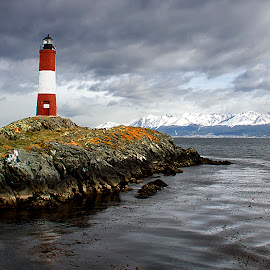 The Lighthouse at the End of the World by Edith Polverini - Landscapes Waterscapes ( argentina, beagle channel, lighthouse, tierra del fuego, les eclarieurs )