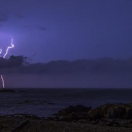 Ocean Strike by Josh Blash - Landscapes Weather ( clouds, lightning, weather, ocean, storm, landscape, rocks )