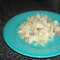 Cabbage and Noodles with Ham