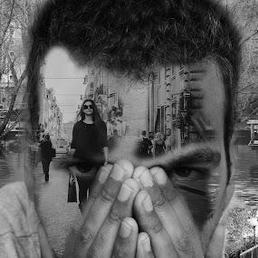 selfie by Jo Polyxromos - Digital Art People ( amazing, black and white, woman, greece, fantastic, people, man )