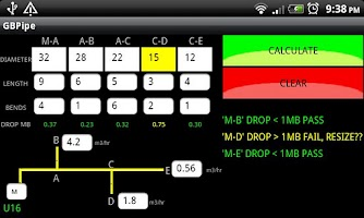 Screenshot of GB Gas Pipe Sizing Calculator