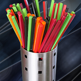 Chopsticks by Joseph Vittek - Artistic Objects Cups, Plates & Utensils ( rose, orange, red, green, chopsticks, black )