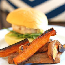 Turkey Burgers with Gruyere & Spiced Sweet Potato Fries