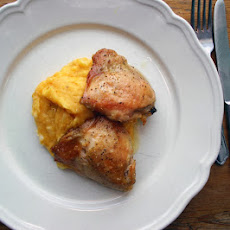 Sous Vide Chicken Thighs With Cauliflower, Squash And Potato Mash