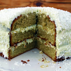 Matcha Tea, Lime And Coconut Lamington Cake