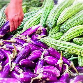 by Oyie Inkiriwang - Food & Drink Fruits & Vegetables ( green vegi, purple, eggplant, vegetable )
