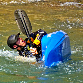 Oops! by Sandy Scott - Sports & Fitness Watersports ( durango colorado, animas river, durango, colorado, kyaker, white water sports, white water kayaking,  )
