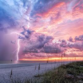 Englewood Sunset by Dave Eppley - Landscapes Weather ( wild, lightning, englewood, florida, sunset, weather, storm,  )