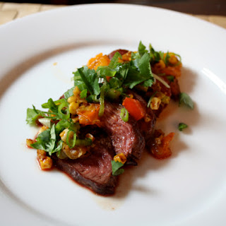 Sliced Steak with Roasted Corn Salsa