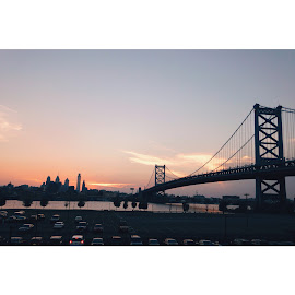 Philly Skyline From Camden by Samantha Lucey - City,  Street & Park  Skylines ( skyline, sunset, philly, cityscape )