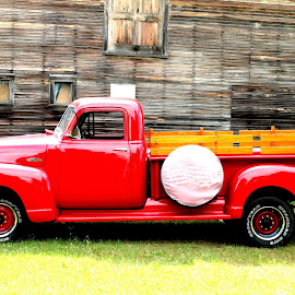 Red on Green by Daloma Poe - Transportation Bicycles ( automobiles, complementary colors, red and green, barn, pickup truck, red, green )