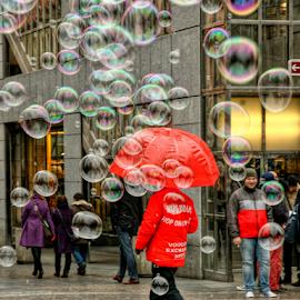 Rain man by Irena Brozova - City,  Street & Park  Street Scenes