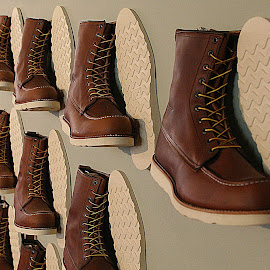 Boots on the wall. by Dan Dusek - Artistic Objects Clothing & Accessories ( store, lines, display, artistic objects, boots,  )