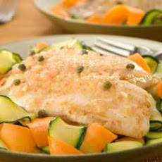 Tilapia Piccata Over Vegetable Ribbons