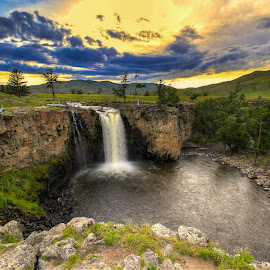 Waterfall by Borjigon Bayasal - Landscapes Sunsets & Sunrises