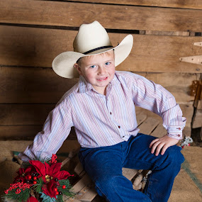 Christmas Cowboy by Tiffany Lett - Babies & Children Child Portraits ( cowboy, tiffany lett, barn, boy,  )