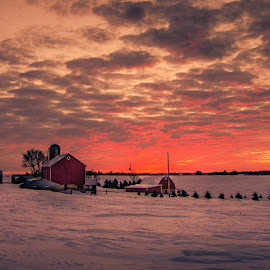A Rural Minnesota Sunset by Gary Hanson - Landscapes Sunsets & Sunrises ( minnesota, winter, cold, sunset, midwest, snow, new trier, rural )