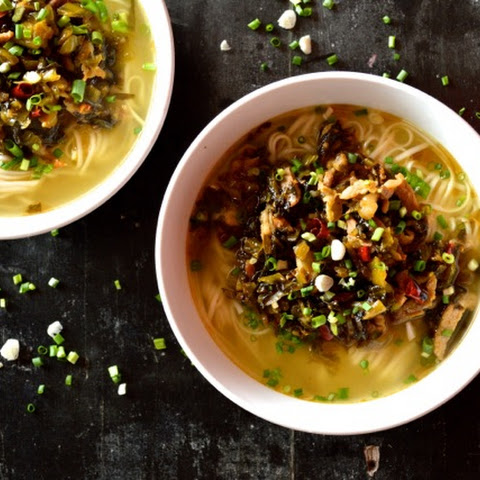 Noodle Soup with Pork and Pickled Greens