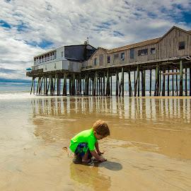 Old Orchard Beach by Brian Battaglia - Babies & Children Toddlers ( water, children, pier, beach, toddler )