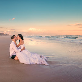 The Kiss by Jeremy McKnight - Wedding Bride & Groom ( kiss, wedding, ocean, couple, beach, trash the dress )