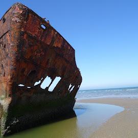 shipwreck by Maureen Slough - Transportation Boats