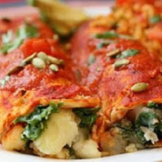 Potato Kale Enchiladas With Roasted Chili Sauce