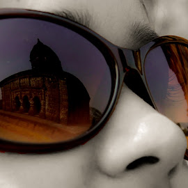Reflections of the Past by Shamba Mukherjee - Novices Only Portraits & People ( reflection, glasses, portrait, eyes )