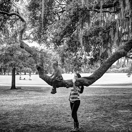 by Craig Sheridan - People Family ( savannah, tree, black and white, moss )
