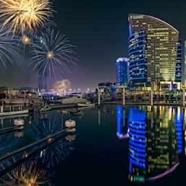 DFC Fireworks by RJ Ramoneda - City,  Street & Park  City Parks ( emirates, dfc, reflection, dubai festival city, dubai, intercontinental, d600, fireworks, architecture, hotel, nikon )