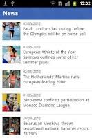 Screenshot of European Athletics mobile
