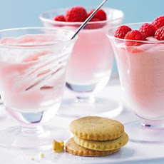 Raspberry Mousse With Mint Biscuits