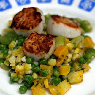 Scallops with Corn and Fava Bean Succotash