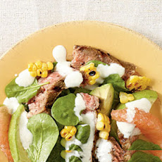 Grilled Steak-Corn-Spinach Salad