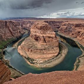 Storm Over Horshoe Bend by Gordon Banks - Landscapes Deserts ( colorado river, desert, arizona, sandstone, colorado plateau, horseshoe bend )