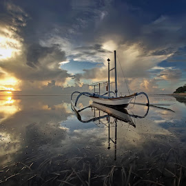 Good Reflections by Arya Satriawan - Landscapes Sunsets & Sunrises ( clouds, water, reflection, sky, nature, color, national geographic, sunrise, beach, landscape, sun )