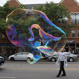 Bubble Man in the Short North  by Karen Gorski - City,  Street & Park  Street Scenes ( gallery hop, columbus ohio, short north, arts district, bubble man )